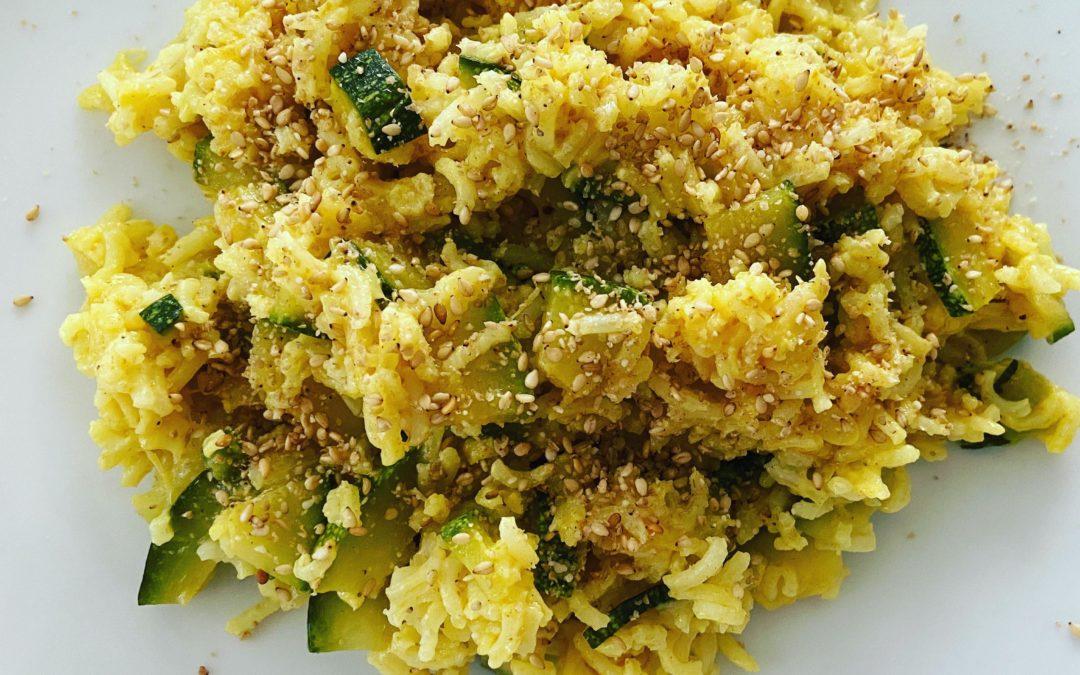 Curry doux de courgettes et riz basmati 1/2 complet